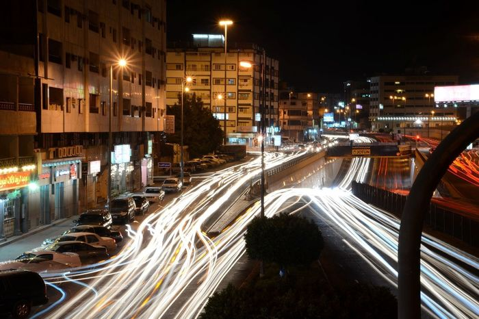 Continued shot from a previous one, souq activity in Ta'if Light Trails Traffic Nikon