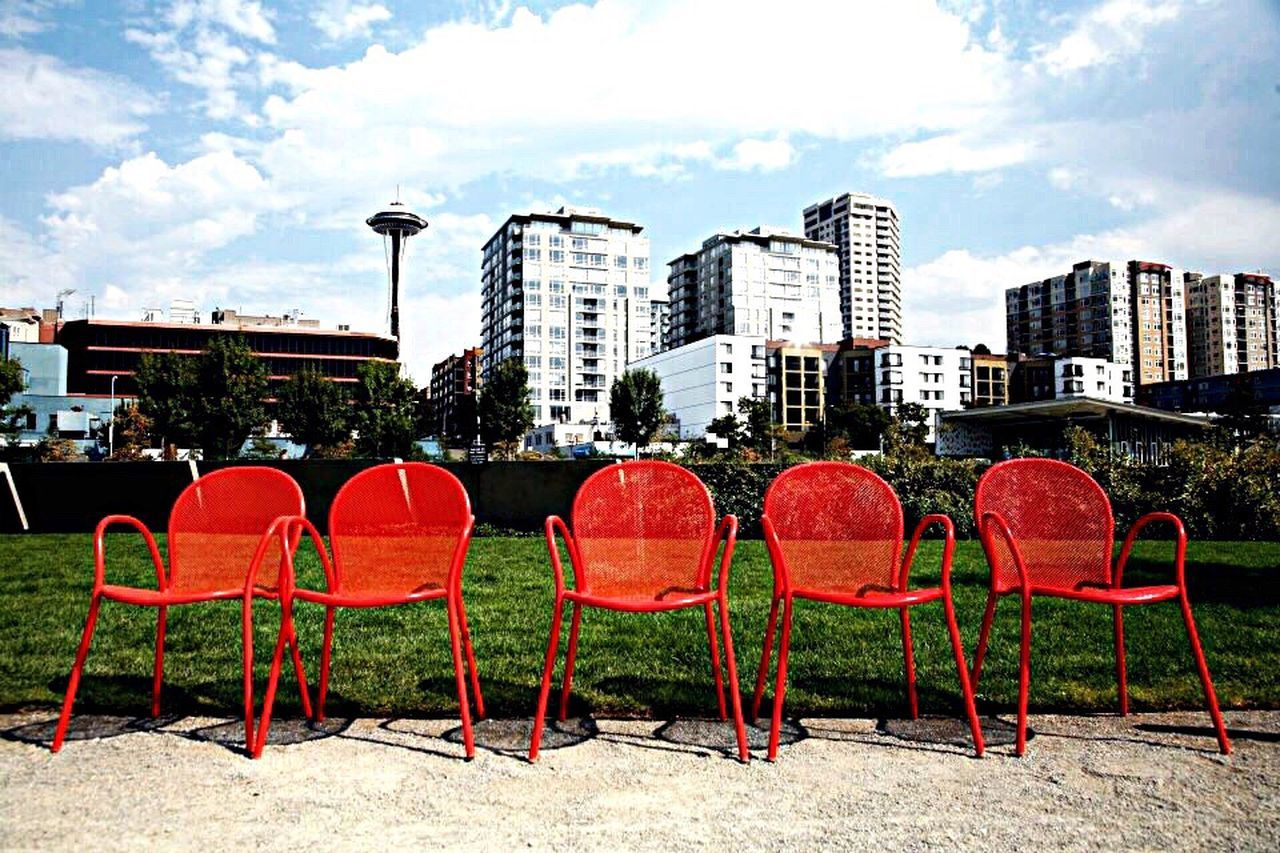 Seattle Scenery Chairs Red Art Instillation