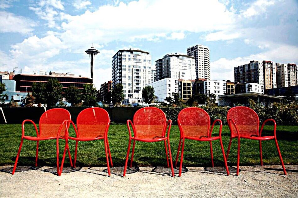 Seattle Scenery Chairs Red Art Instillation