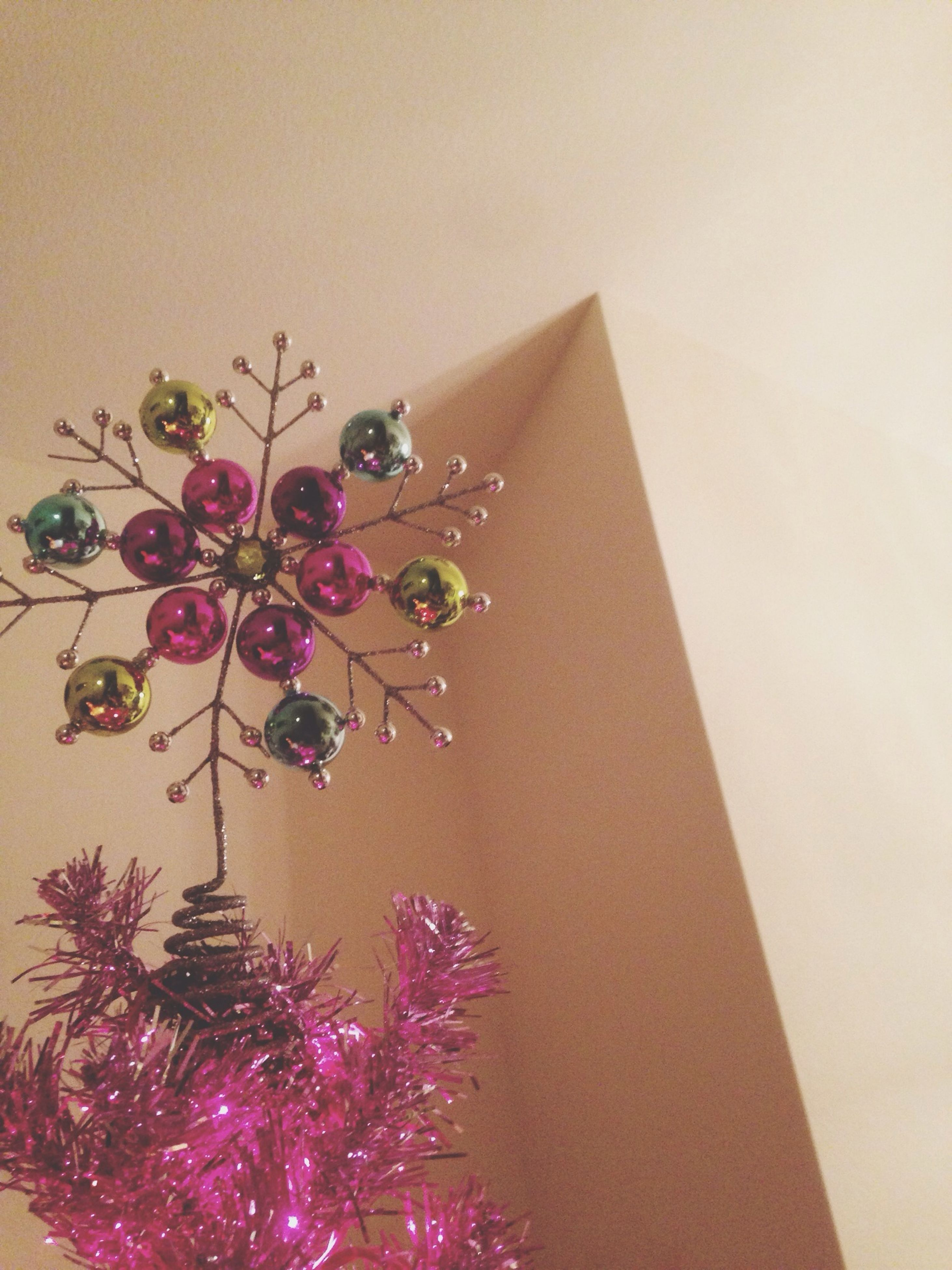 decoration, indoors, decor, low angle view, illuminated, lighting equipment, hanging, christmas, christmas decoration, copy space, celebration, art and craft, art, ceiling, tradition, christmas tree, chandelier, creativity, home interior, religion