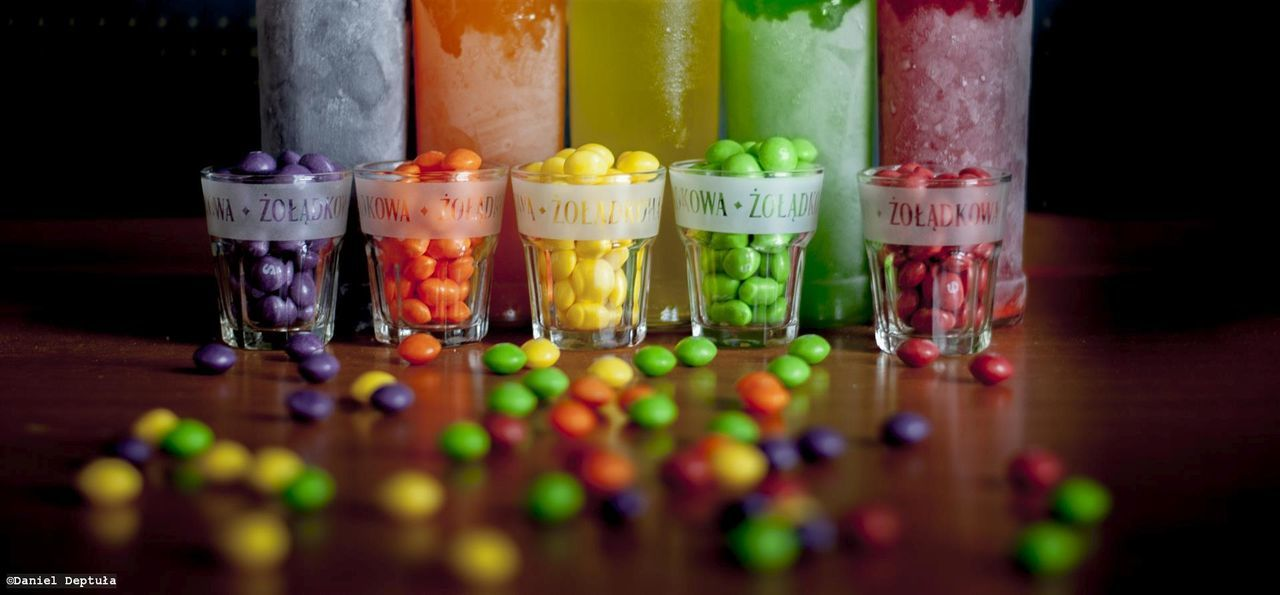 Arrangement Candy Choice Close-up Colorfull Day Drink Food Freshness In A Row Indoors  Multi Colored No People Ready-to-eat Skittles Variation Vodka