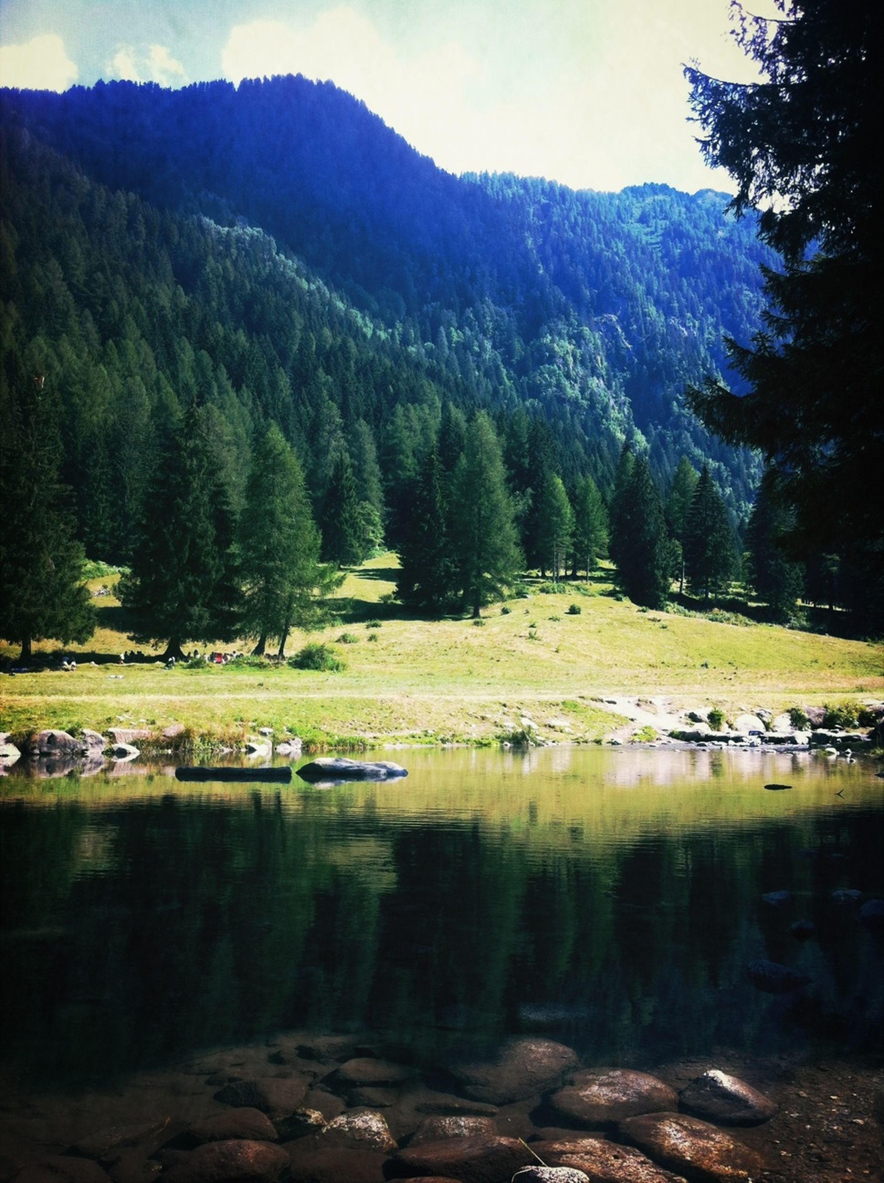 mountain, water, tree, tranquil scene, tranquility, scenics, beauty in nature, lake, nature, reflection, river, forest, mountain range, non-urban scene, landscape, green color, idyllic, growth, day, stream