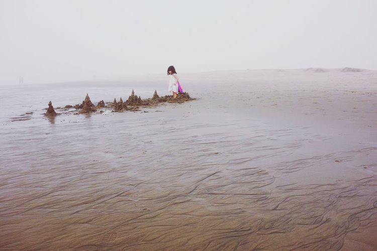 Julia On The Beach Foggy Fog Beachphotography Life Is A Beach On The Beach Beach Photography People Building A Sand Castle
