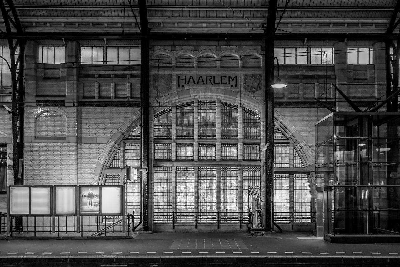 Haarlem central station platform Architecture Blackandwhite Built Structure Geometry Haarlem Haarlem Central Station Old Train Station Symmetry Window