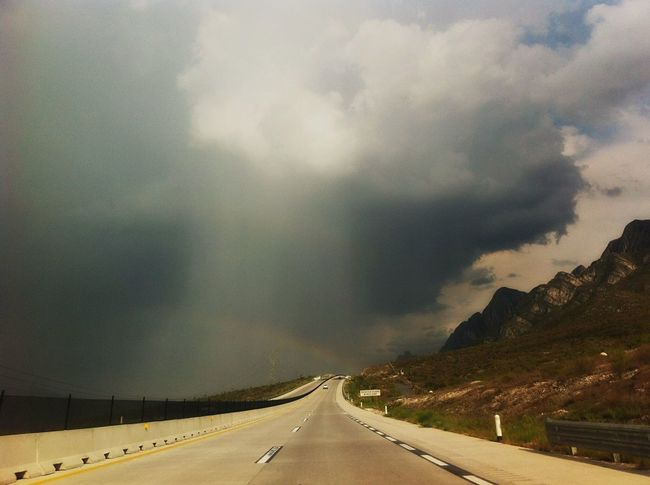 Driving Home Higway Saltillo-Monterrey Mexico Sunny Day To Rainning Day