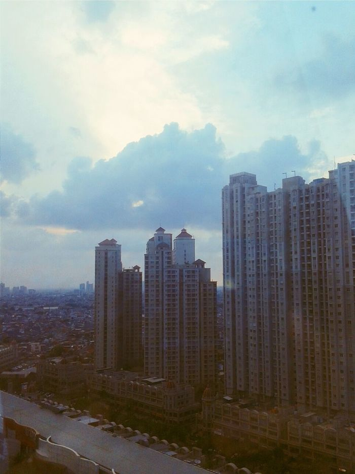 View from 17th floor of APL Tower Central Park, Jakarta.. Cityscapes Looking Out The Window Sky And Clouds Window View Hello Jakarta Jakarta Indonesia Jakartacity  City Good Evening Good Evening ♥