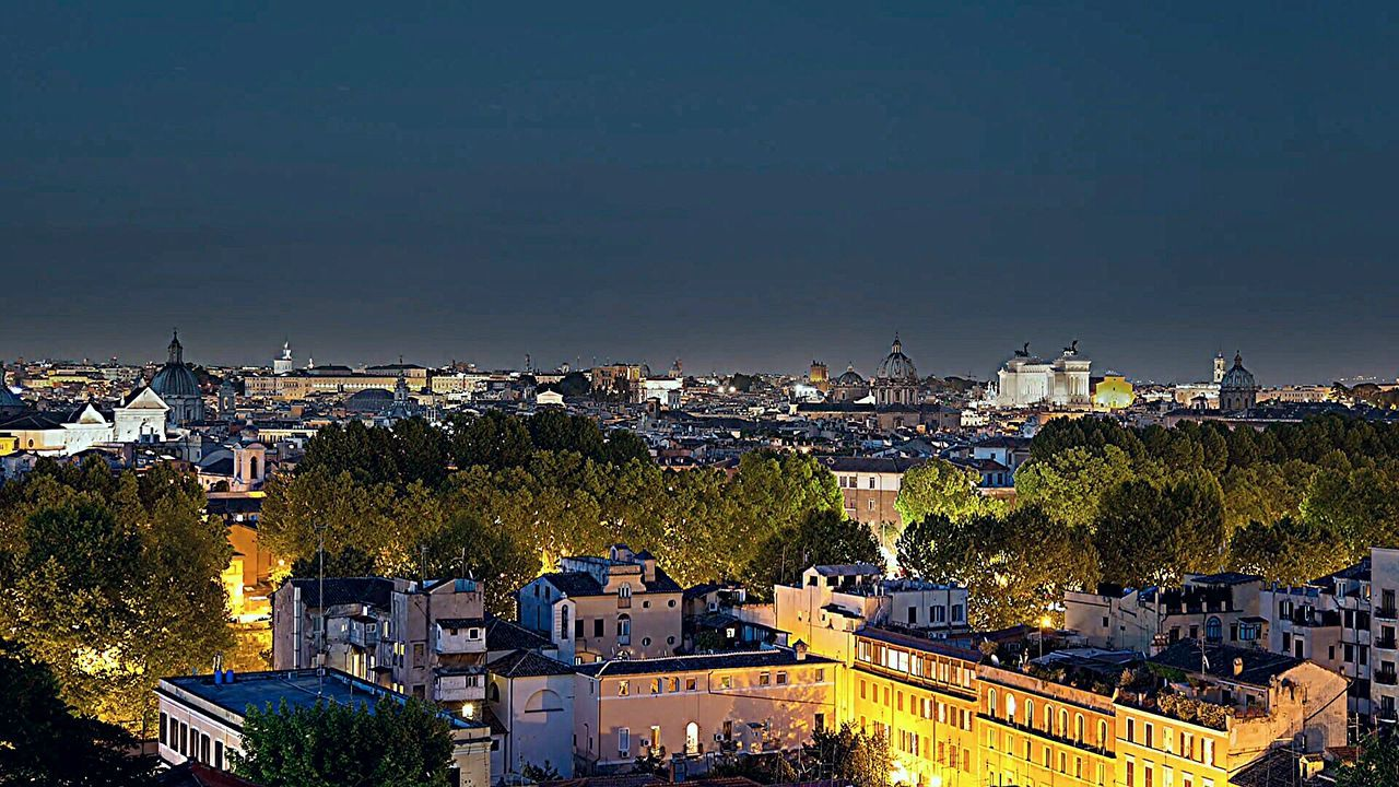 Rome By Night Rome Italy🇮🇹 Rome Colour Photography Built Structure In The Night Tranquility City Life Ancient Civilizations Architecture_collection Tourism Roof Garden Cityscape Multi Colored Night Illuminated Rome, Italy