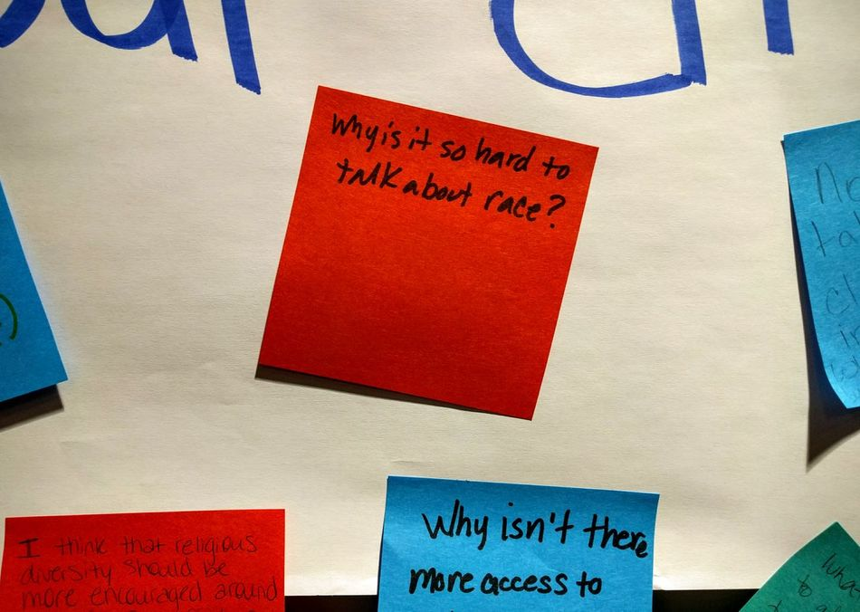 Sticky note on a board asking what people would like to have discussed at a diversity and inclusion summit. Check This Out Sign Notes Feelings Thoughtful Thoughts & Quotes Quote Of The Day  Diversity Race Introspection Introspective Topic Of Discussion Topical News Current_challenges Current Events EyeEm Diversity