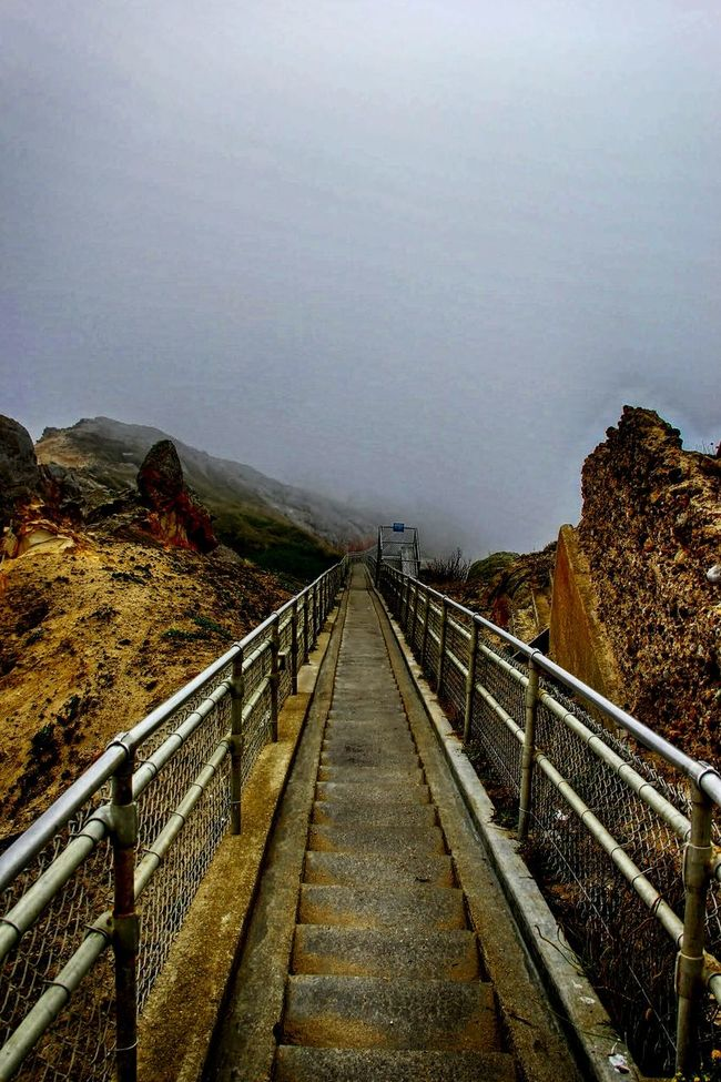 A Staircase To Heaven, Pointe Reyes Light House. Staircase Stairway To Heaven Fog At The End Of Tunnel Foggy Place On The Way