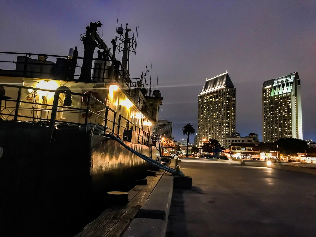 Architecture Built Structure Building Exterior Illuminated Night City Transportation Outdoors Sky Water No People Clear Sky United States California Boats Bay Harbor Sandiego Waterfront Cityscape City Tower Skyscraper Modern Urban Skyline