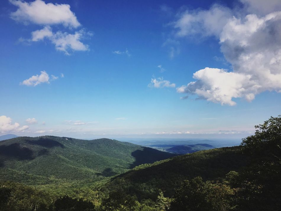 Landscape Mountain Range Nature Outdoors Green Mountain Shenandoah Virginia Blue Sky