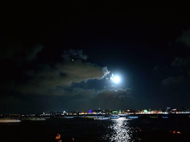 Moonlight Nightphotography Alexandria Egypt Sea And Sky