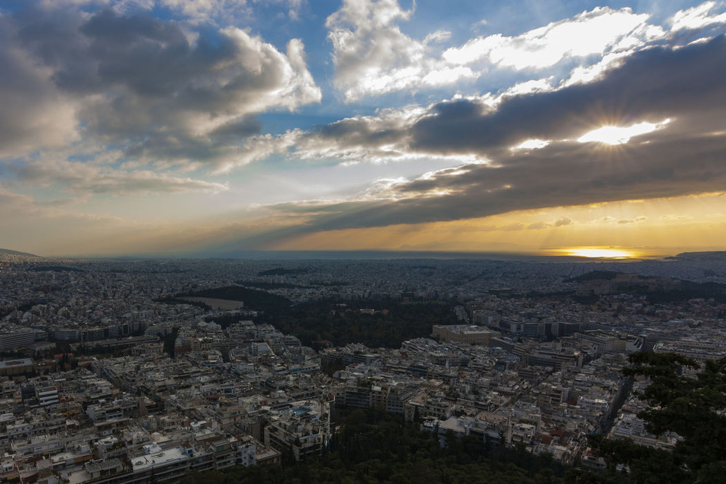 View of Athens from Lykavittos Hill, Athens, Greece Architecture Athens Building Exterior Built Structure City City Cityscape Cityscape Cloud - Sky Community Crowded Day Greece Greek High Angle View Landscape Lykavittos Hill Mountain Nature Outdoors Residential Building Sky Skyline Sunset Travel Destinations