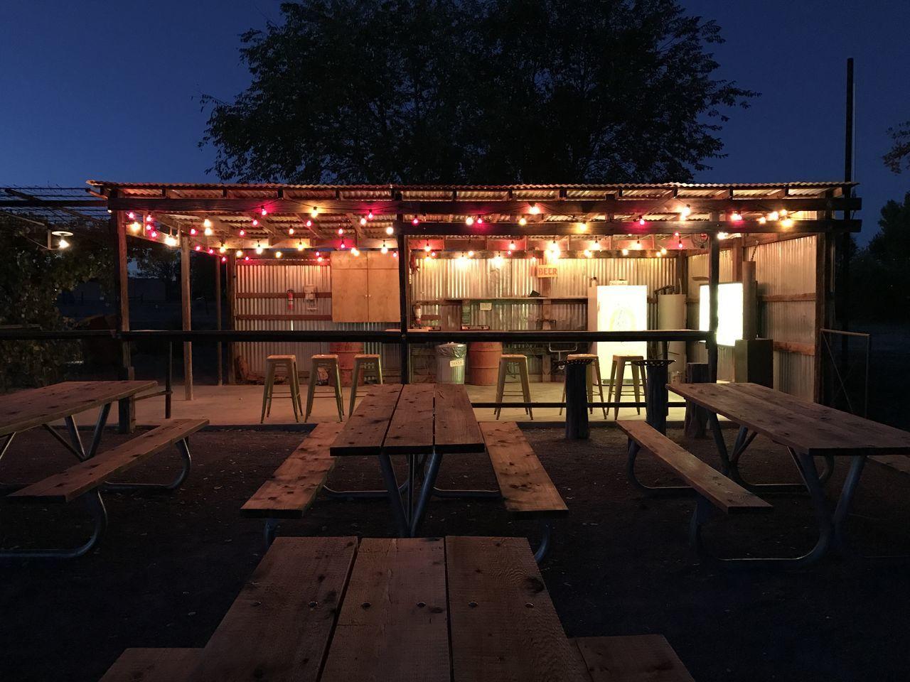 Camping Kitchen Lights Marfa Marfa Texas Night Scene Outdoor Kitchen Outdoors