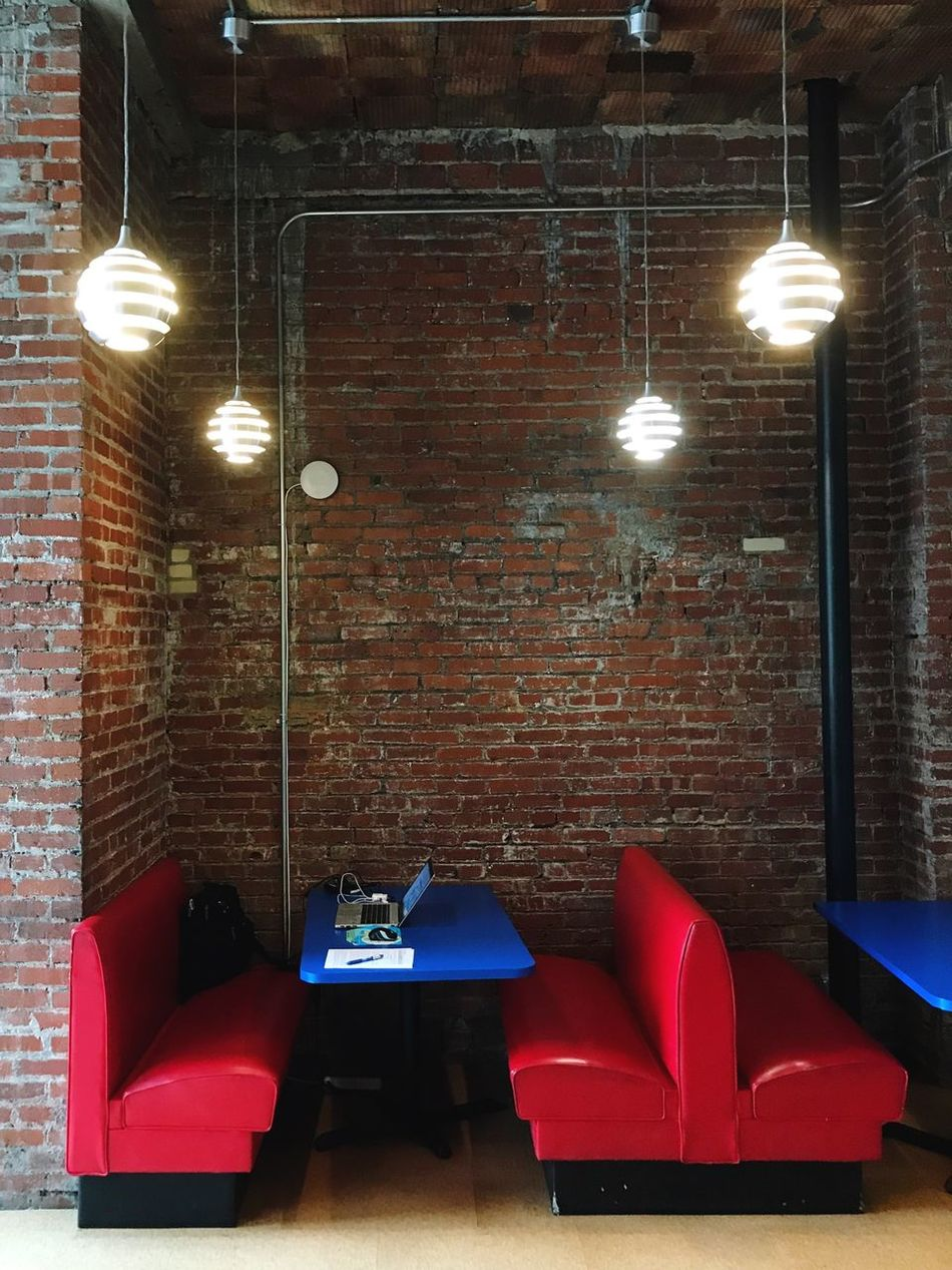 Illuminated Lighting Equipment Indoors  No People Brick Wall Chair Architecture Day Work Startup Office
