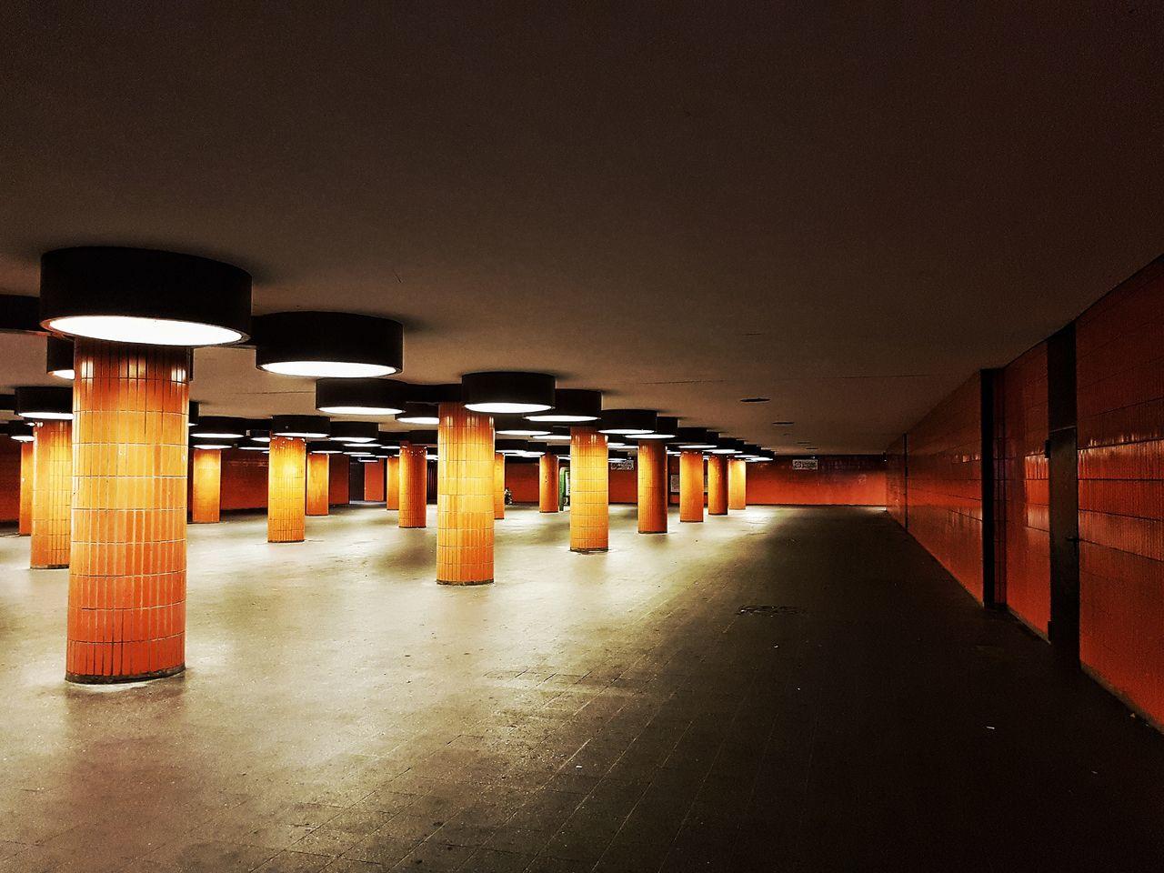Architecture Illuminated Indoors  Underground Passage