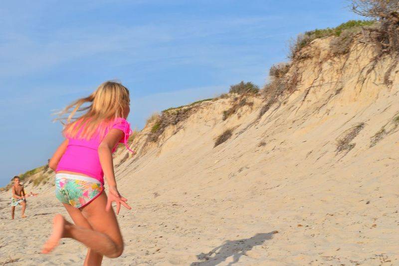 People And Places Lime Beach Kassandra Summer Still Summer Beach Greece Sea Beach People Beach Photography Sand Dunes Sand Dune Sand Street Photography Girl Girl Running Pink Color Pink T-shirt Fluroscent capturing motion What Who Where Millennial Pink Sommergefühle
