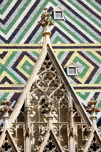 Steffl. Stephansdom Detail Façade Wien Vienna Viena, Austria Church Close-up Detail Architecture_collection Architectural Column Architectural Detail Architectural Feature Colorful Old Buildings Old Town Beautiful No People Built Structure Day Light And Shadow Textures And Surfaces March 2017 The Week Of Eyeem