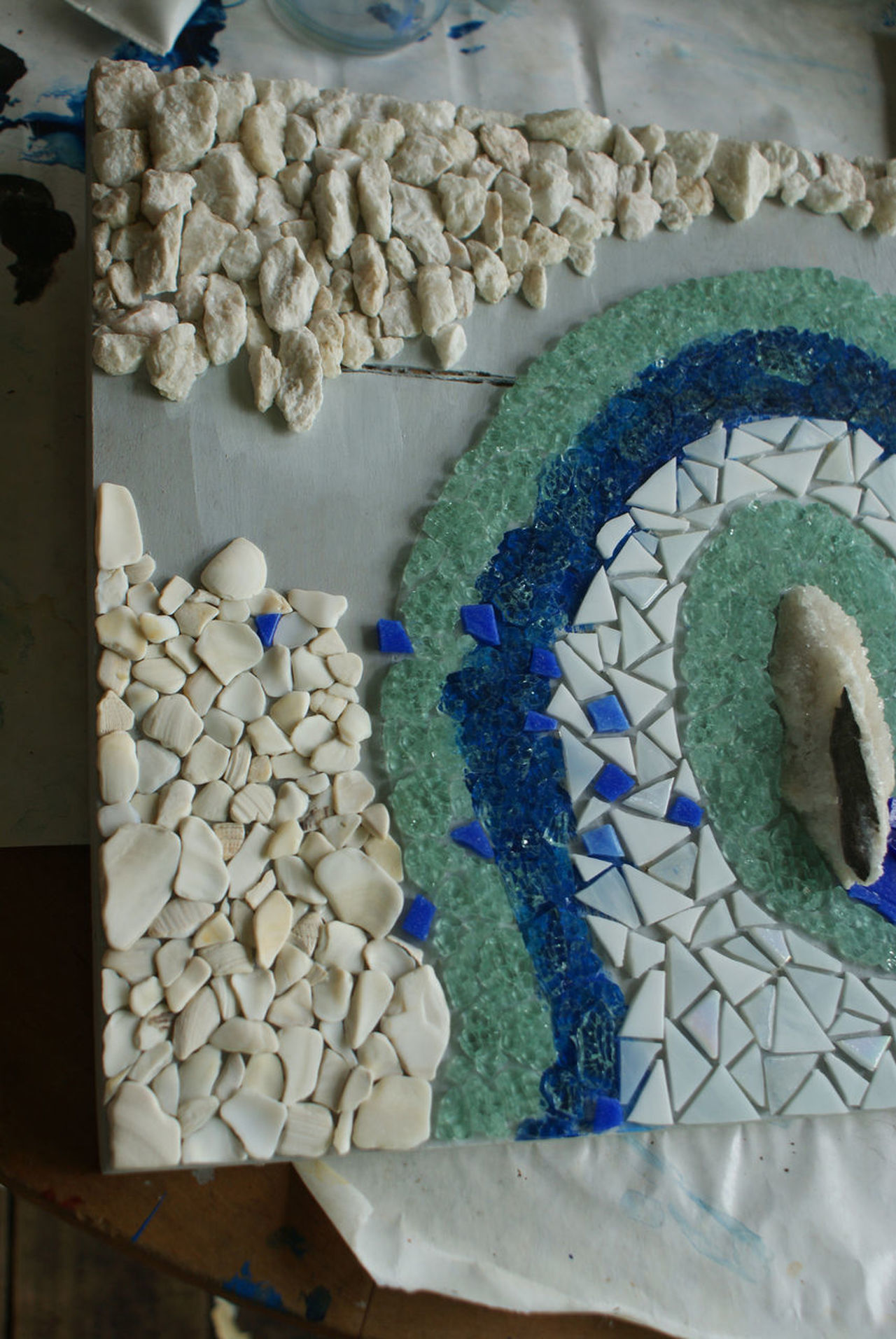 A work of art in progress. Mosaic being made with stones, tiles, glass and granite crystal. Art Beach Art Blue Day Glass - Material Glass Art Indoors  Large Group Of Objects Mosaic Mosaic Art My Art No People Shells Stones White Work Space