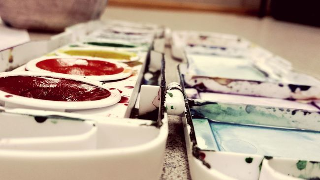 Watercolor Paint Palate Art Watercolor Painting Rainbow Colors Perspective