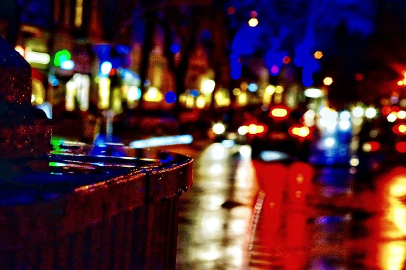 Nightlights at the Shoppingstreet Eppendorfer Baum Colorful City Reflections And Shadows Depth Of Field Traffic Lights Night Lights Shoppingstreet Bokeh Photography Illuminated Night Close-up Focus On Foreground No People Indoors