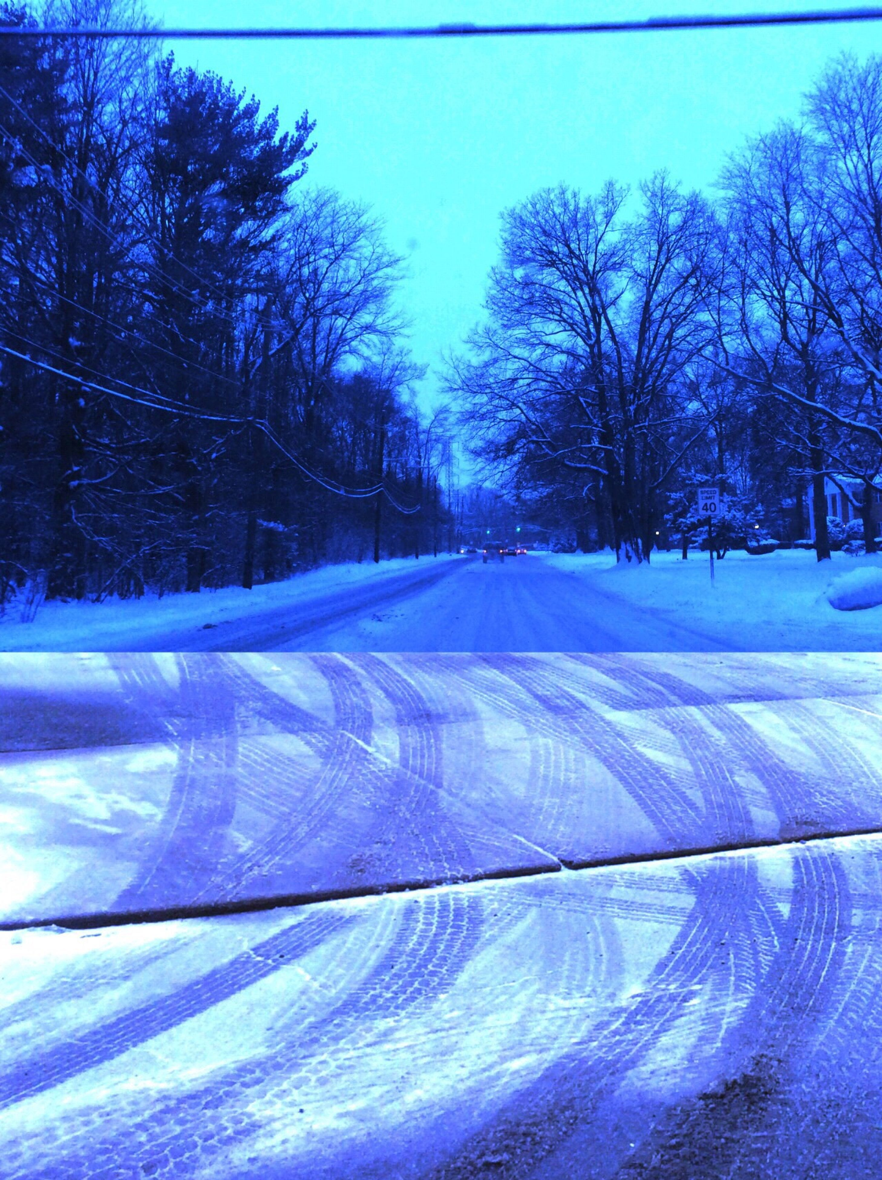 snow, winter, cold temperature, tree, bare tree, blue, season, clear sky, covering, weather, nature, road, white color, field, landscape, tranquil scene, transportation, tranquility, frozen, sky
