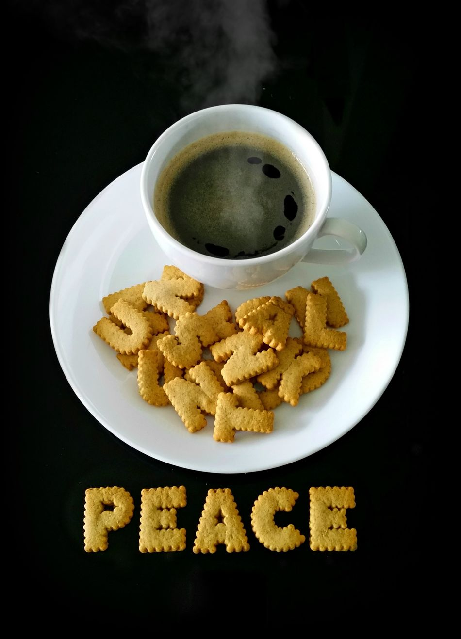 Biscuitcoffee Black Background Blackcoffee Coffee Hotcoffee No People Peace And Quiet Plate