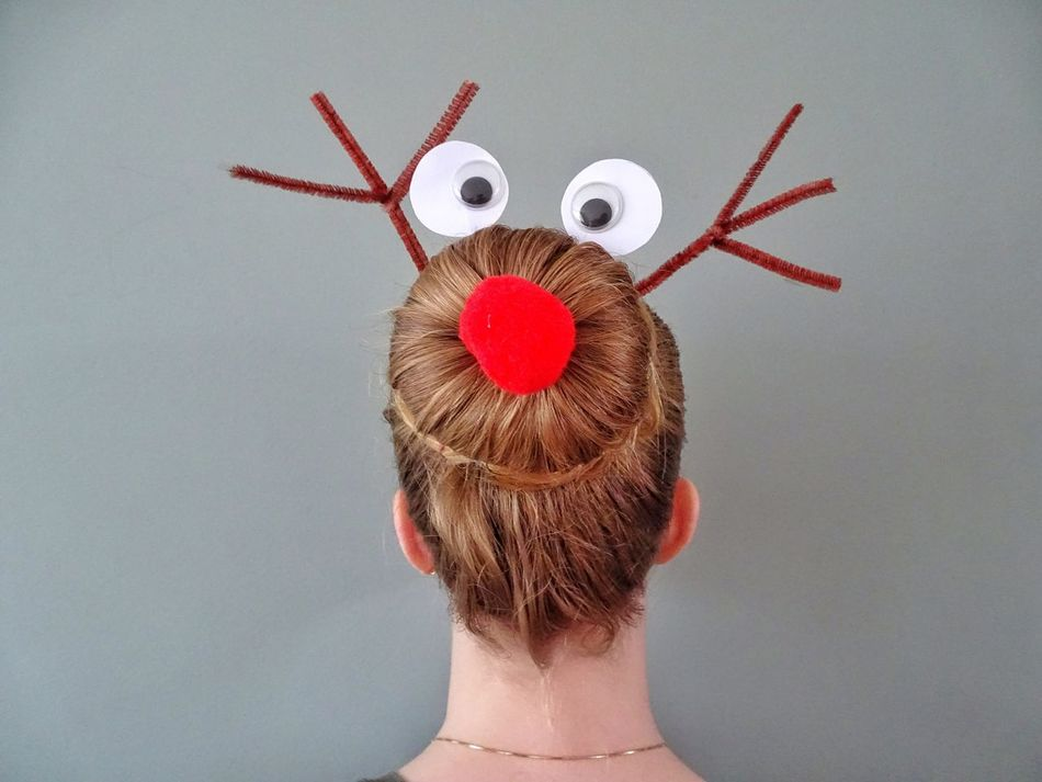 Rudolph The Reindeer Hairstyle Hair Hair Bun Real People Hairstyles Blond Hair One Young Woman Only Funny Hairstyle Rudolph Hairdo Human Body Part Reindeer Stylish Headshot Red Nose Christmas Close-up Funny Hair Fun Bun Eyes