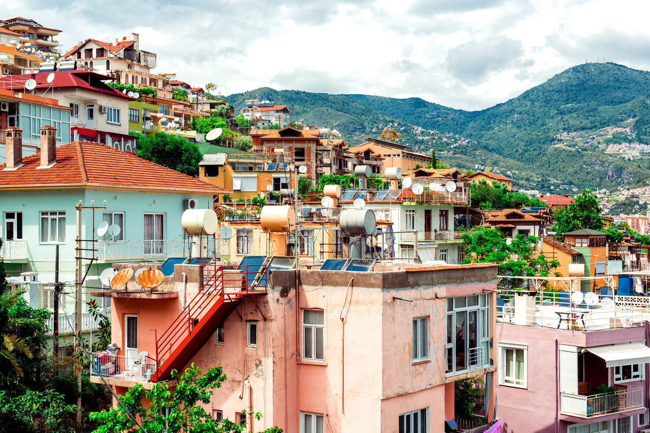 View of Alanya town. Turkey Alanya Architecture Building Exterior City Cityscape Cityscape Cloud - Sky Facade Building Hillside Houses And Windows Landmark Landscape Middle East Mountain Range Mountains Outdoors Picturesque Residential Building Sky Summer Tourist Resort Town Turkey Turkish Riviera Urban Landscape
