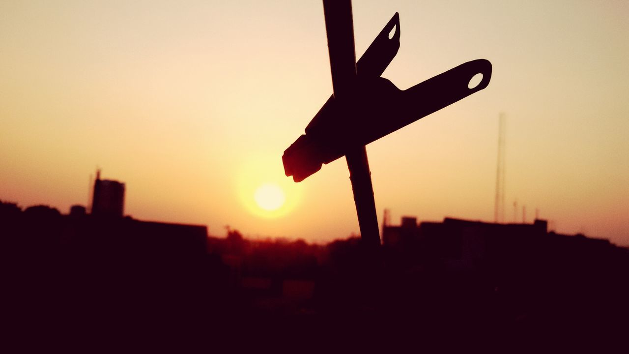 sunset, silhouette, orange color, sky, no people, outdoors, city, clear sky, architecture, nature, cityscape, close-up, day