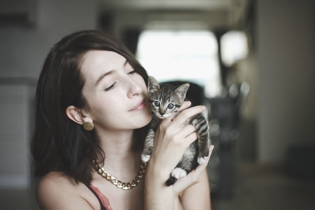Close-Up Of Beautiful Woman Holding Cute Kitten At Home