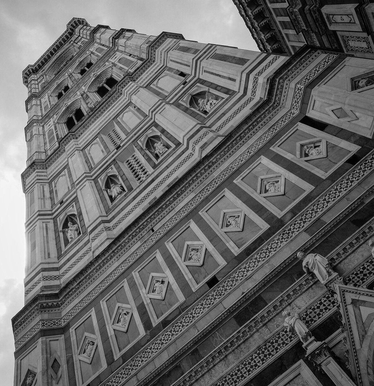 Architecture Low Angle View Built Structure Building Exterior No People Day Outdoors Sky Florence Cityscape Florence Cathedral Bell Tower Cathedral Florence Italy Blackandwhite Photography Blackandwhite Religion Travel Destinations Architecture FUJIFILM X-T1 Fujifilm_xseries Italy Low Angle View Fuji X-T1 City