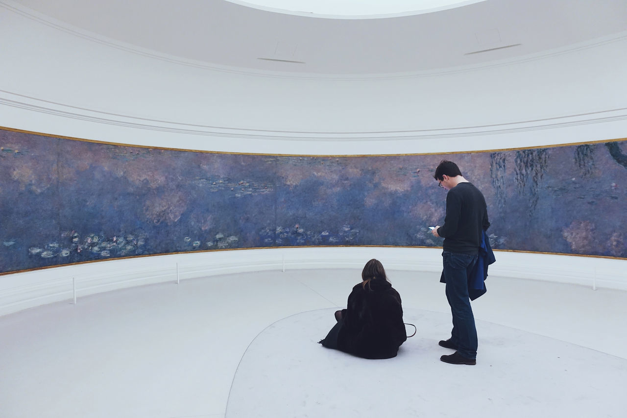Dear Claude, ......//. Art Artist ArtWork Colors Day Daylight Historic Life Lifestyles Monet Museum Painting Paris People People Watching Perspective Purple Sitting Space Standing The City Light Togetherness Two People Waterlily White