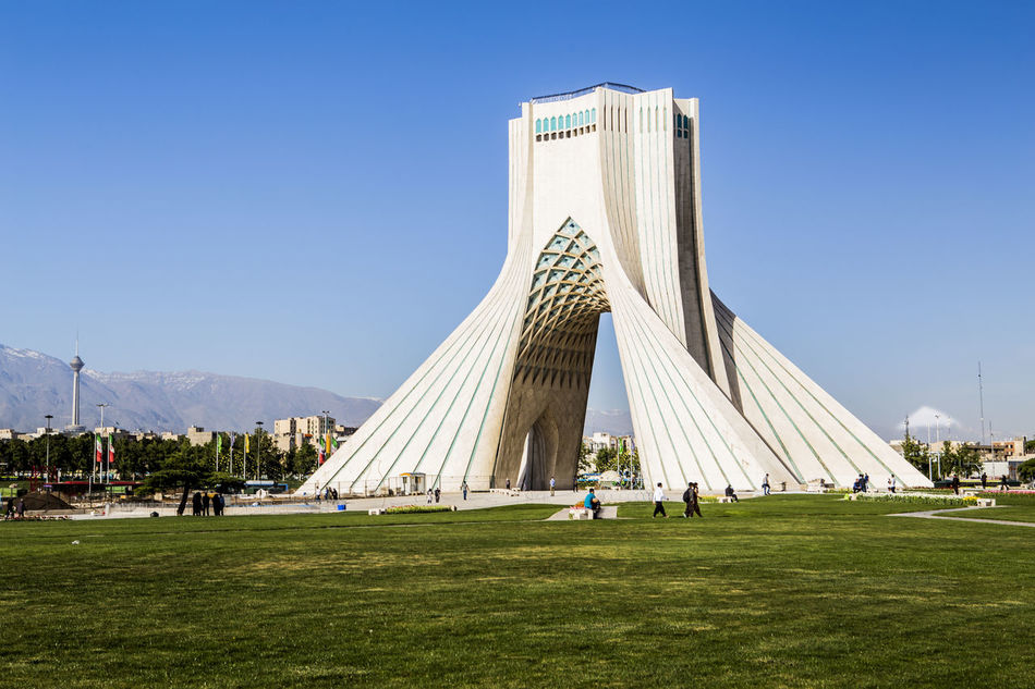 here you can see three symbolism of Tehran View Azadi Tower in center, Milad tower in left and Damavand volcano .tehran . iran Azadi Square Azadi Tower Azadi Tower In Tehran Damavand Damavand Mountain View Milad Tower Symbol Tehran Streets Tehran, Iran Break The Mold Art Is Everywhere