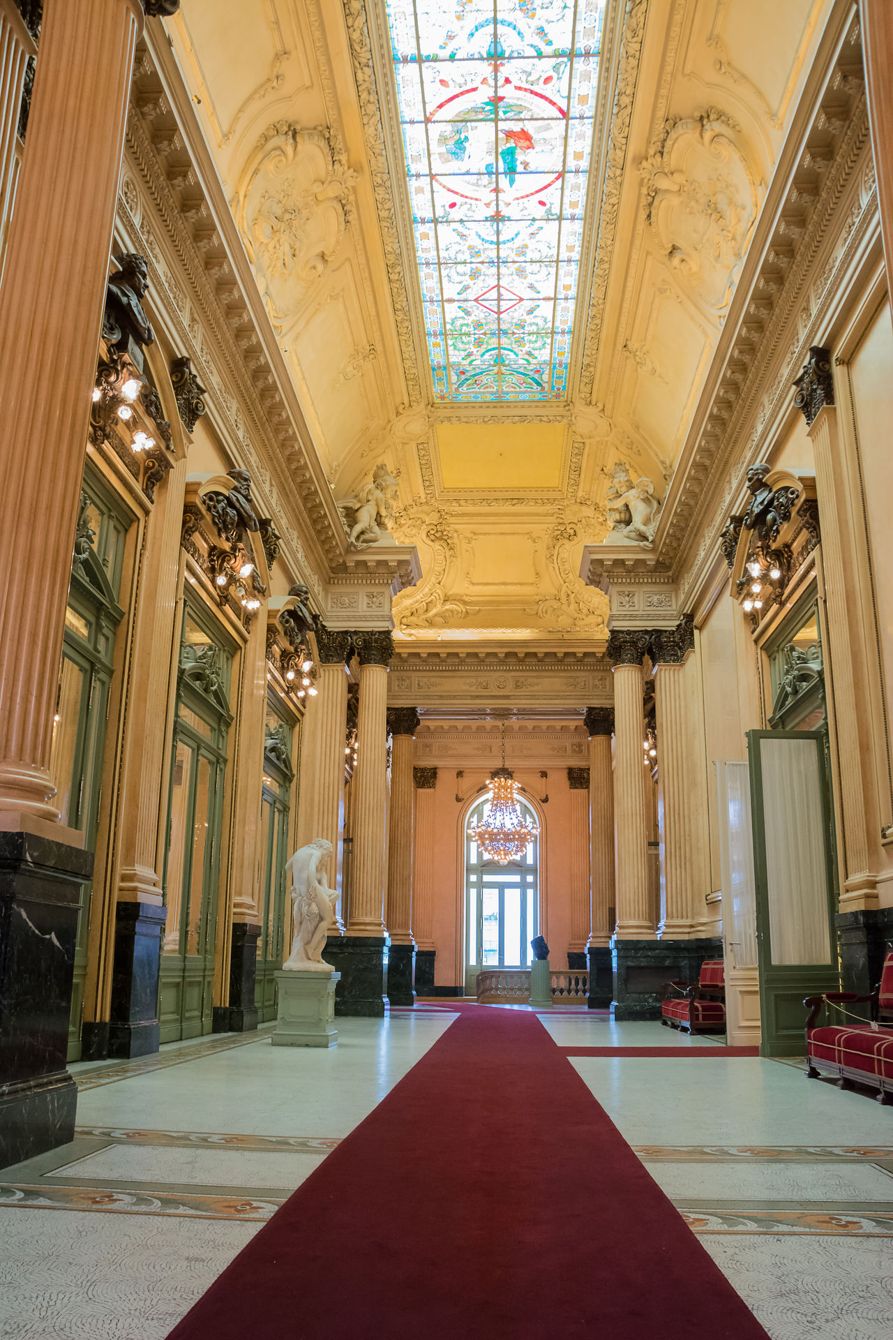 Buenos Aires, Argentina - October 28, 2016: Lounge of Colon theater in Buenos Aires with nobody. Argentina Buenos Aires Carpet Colon Columns Lounge Marble Theater