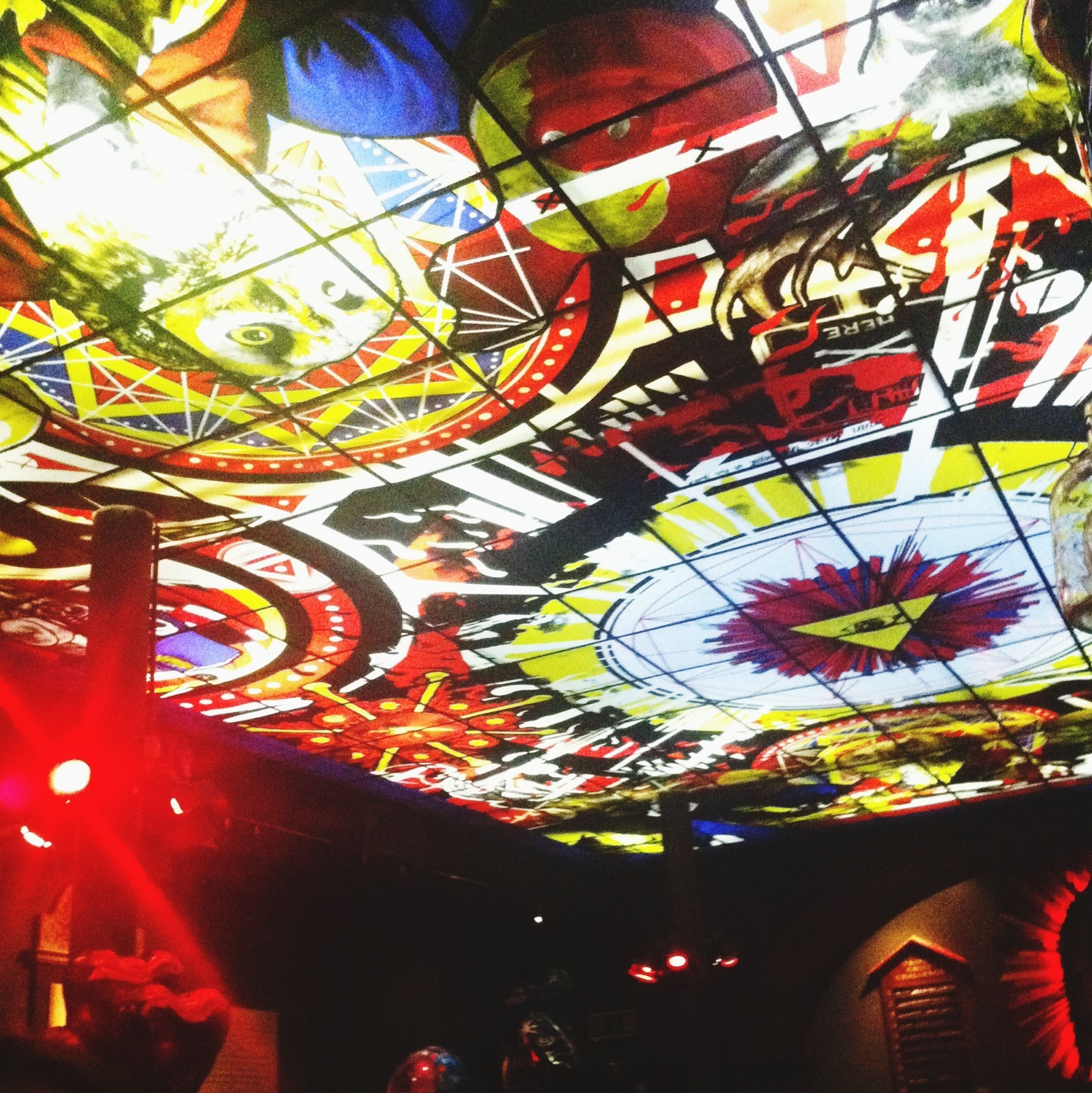 indoors, multi colored, design, ceiling, low angle view, pattern, art, art and craft, decoration, creativity, illuminated, built structure, lighting equipment, hanging, architecture, colorful, no people, day, arts culture and entertainment, ornate