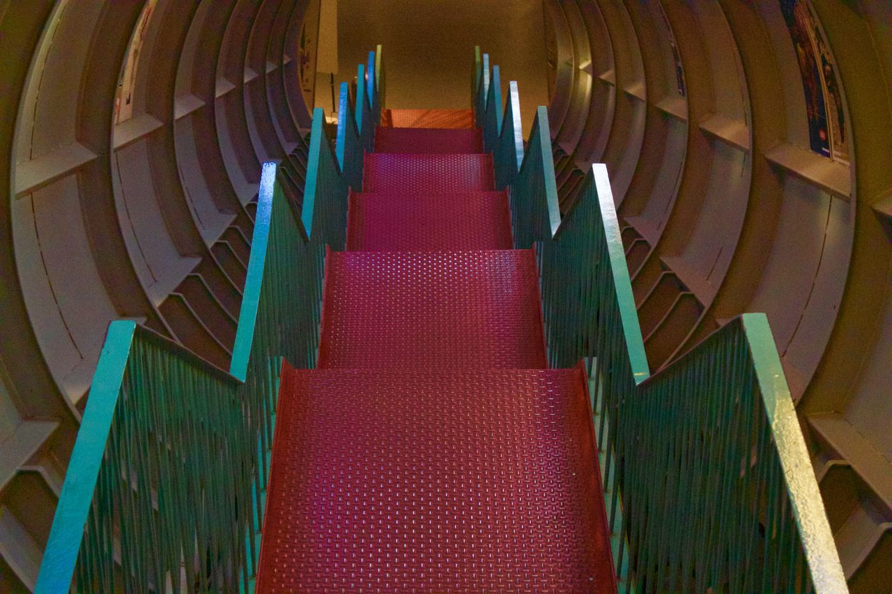 Atomium Brussels Day Green Indoors  No People Red Red Stairs Science Fiction Space Stairs Tunnel Minimalist Architecture