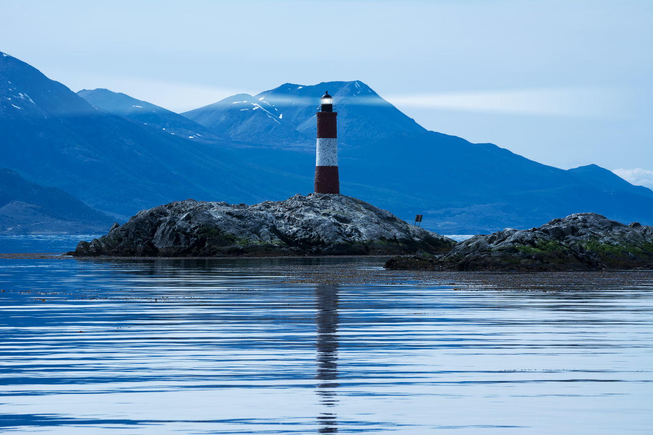 Lighthouse in beagle channel in the night America Argentina Beacon Beagle Canal De Beagle Chanell Channel Eclaireurs Evening Island Land Of Fire Landmark Landscape Les Eclaireurs Lighthouse Light Lighthouse Night Ocean Patagonia Rock Sea Tierra Del Fuego Travel Ushuaïa Water