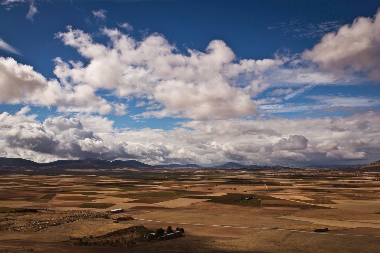 La Mancha Travel Spain ✈️🇪🇸 Sky Clouds Landscape Country Life Shadows On The Ground Low Horizon Brown Land Farming Plateau Landscapes