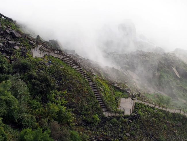 Stairs into the mist Architecture Drizzling Fog Mist Nature Outdoors Rocks Stairs