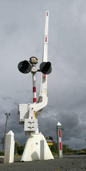 Railway Crossing Signals train Full Length Sky Outdoors