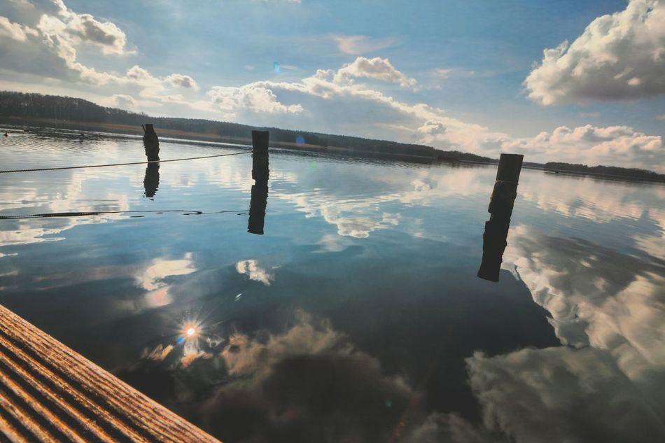 Beautiful Nature Sky Water Reflection Wonderful View Lindow Germany Sum Rays