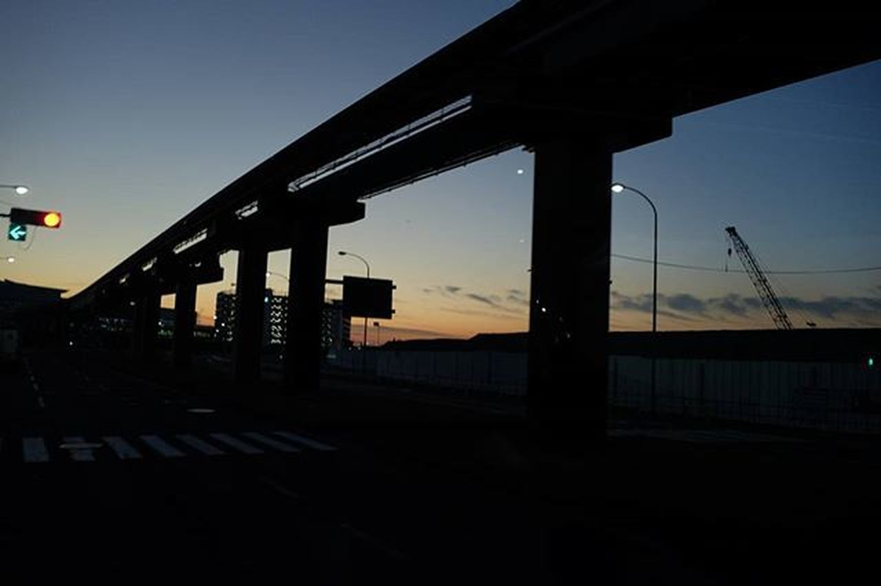 built structure, bridge - man made structure, transportation, no people, sunset, industry, sky, outdoors, architecture, city, night, oil pump