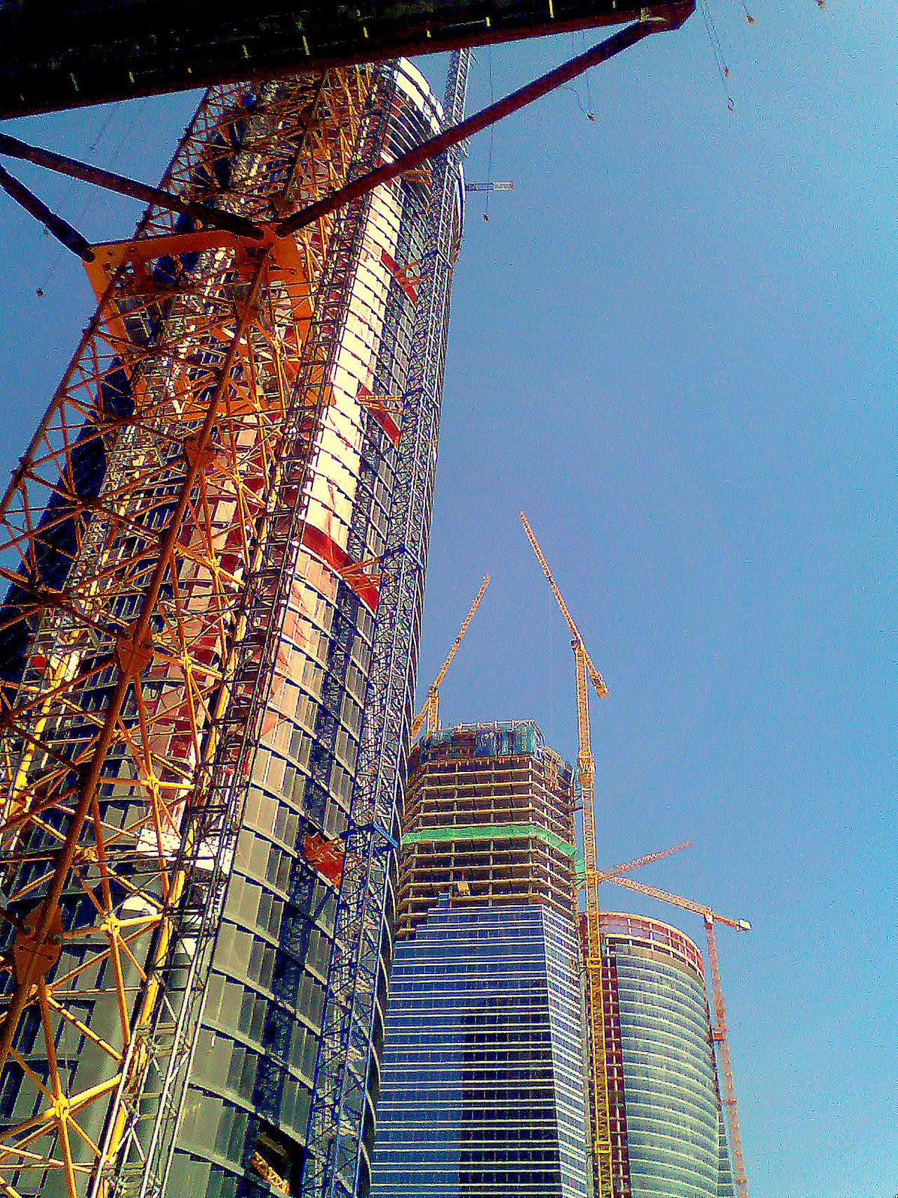 4 Torres Madrid Spain Built Structure Construction Construction Site Development Low Angle View Skyscrapers Tower Las 4 Torres, Madrid, Spain