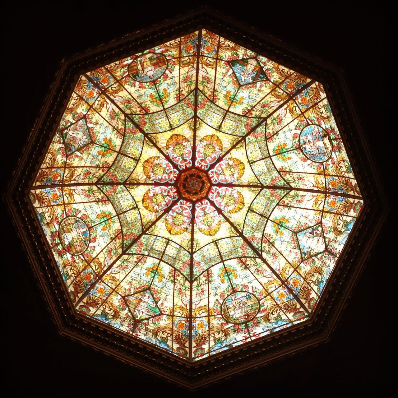 window, ceiling, low angle view, indoors, directly below, no people, multi colored, architecture, cupola, day, close-up