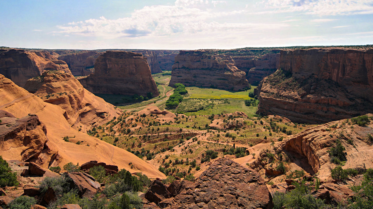 Scenic View Of Canyon De Chelly National Monument Against Sky