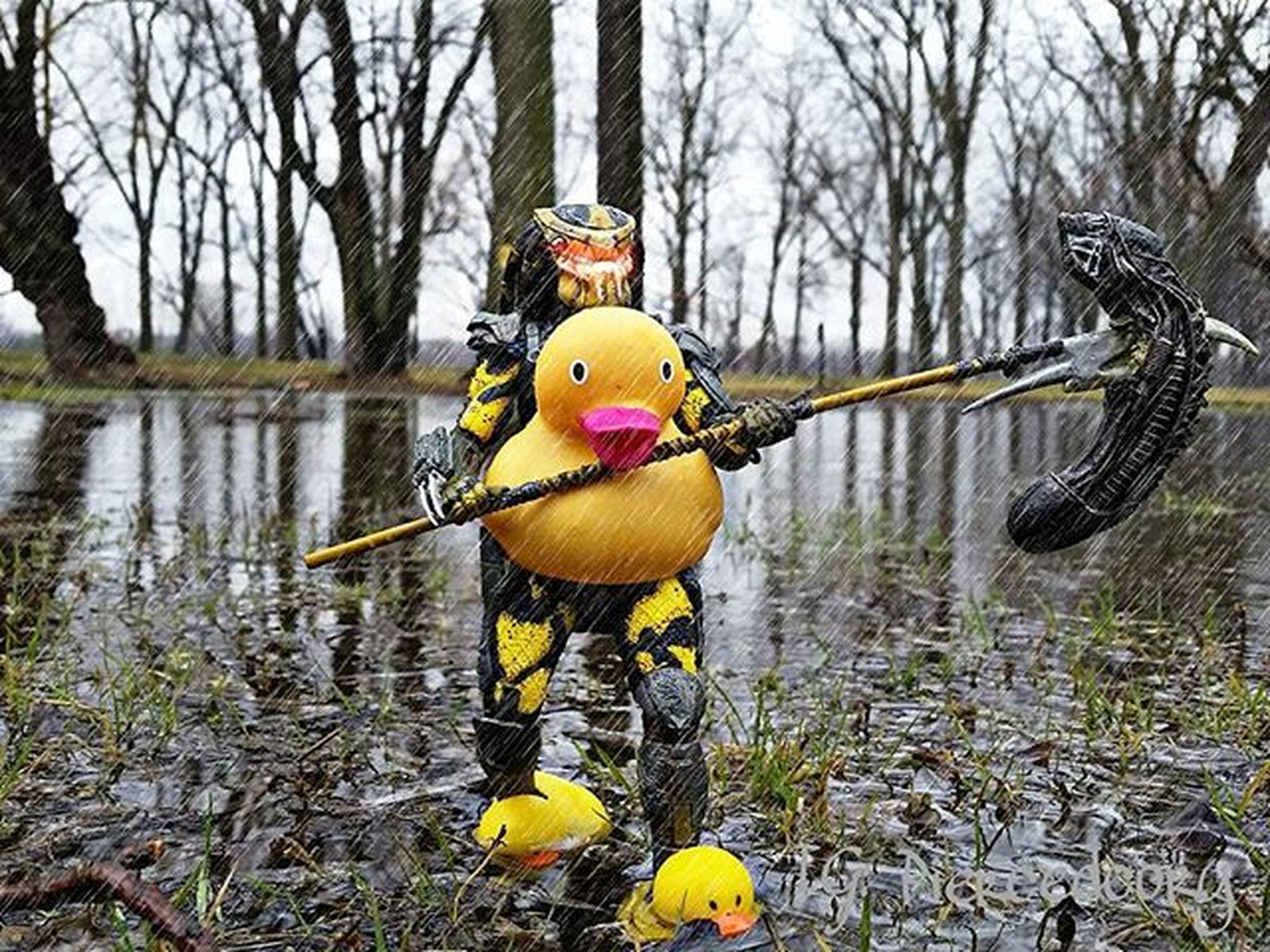 tree, water, lake, yellow, toy, bare tree, branch, childhood, river, reflection, tree trunk, nature, animal representation, tranquility, day, outdoors, transportation, duck, no people, riverbank