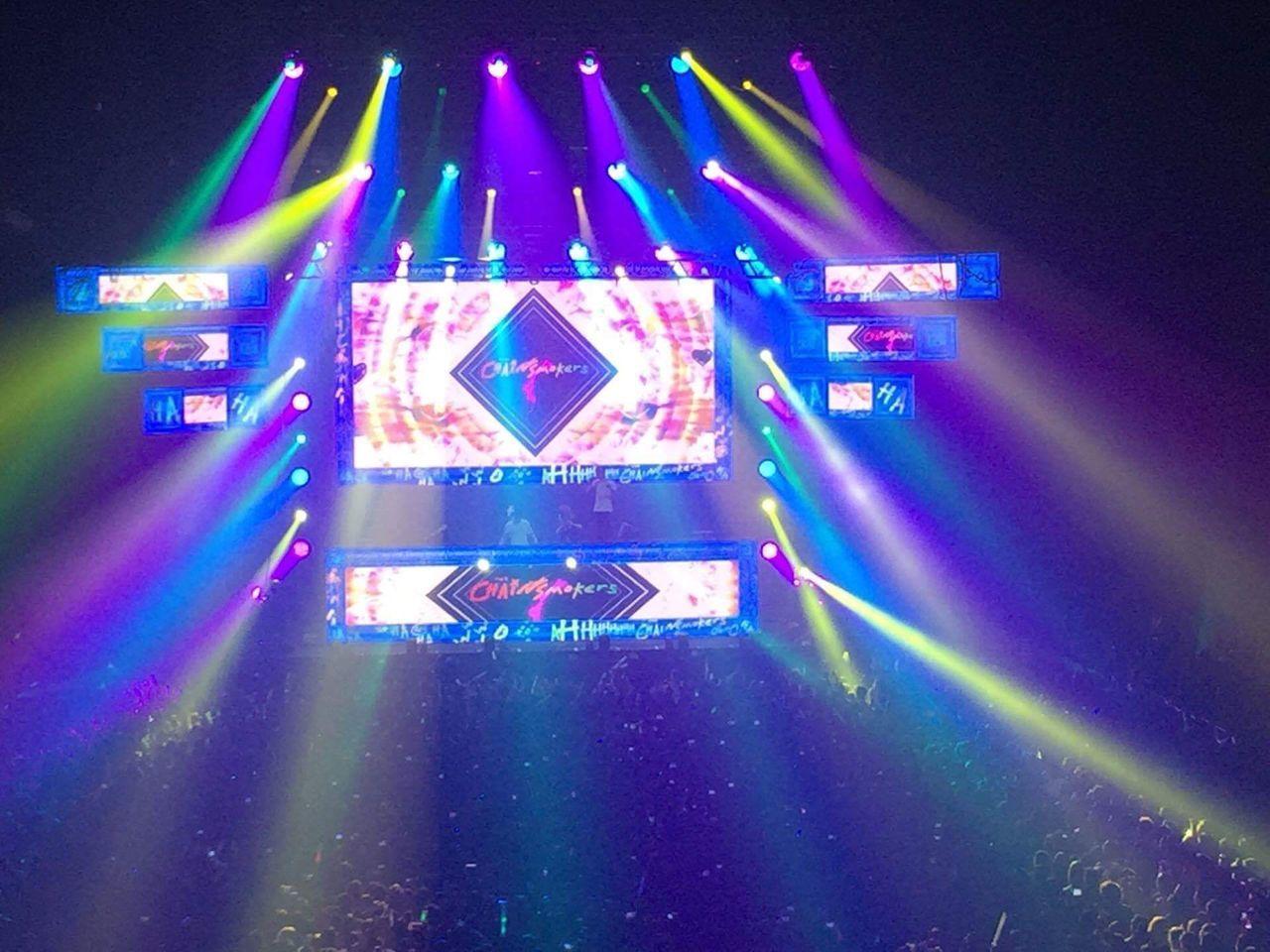 Illuminated Night Concert Chainsmokers Night Lights Nightlife Dance Music Crowd Manila, Philippines