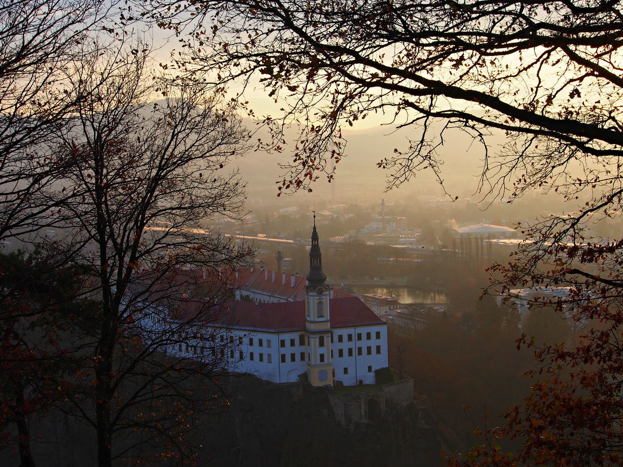 Architecture Built Structure Castle Castle View  Cloudy Day Czech Republic Foggy Morning From My Point Of View History History Through The Lens  No People Outdoors Sunrise Town Tree Urbanism