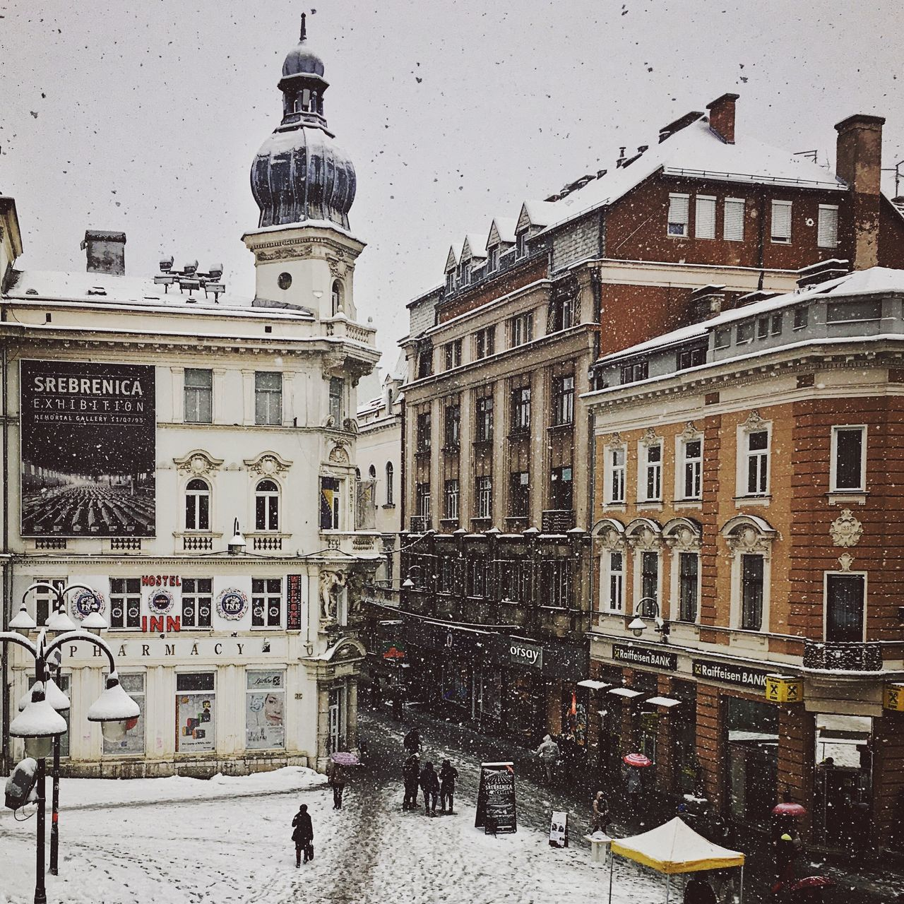 architecture, building exterior, built structure, snow, cold temperature, winter, weather, outdoors, city, snowing, day, sky, no people, nature, animal themes, mammal